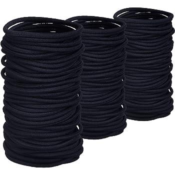 200 Pack No-metal Hair Elastics Hair Ties Ponytail Holders Hair Bands Bulk (2 mm, Black)