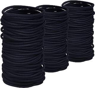TecUnite 200 Pack No-metal Hair Elastics Hair Ties Ponytail Holders Hair Bands Bulk, Black 2 mm in thickness, 3.5 cm in diameter