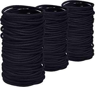 200 Pack No-metal Hair Elastics Hair Ties Ponytail Holders Hair Bands Bulk (2 mm, Black)