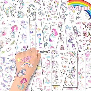 ACWOO Eenhoorn Tijdelijke Tattoos, 30 Vellen Eenhoorn Zeemeermin Tijdelijke Tattoo Stickers voor Kinderen, 350+ Patronen W...