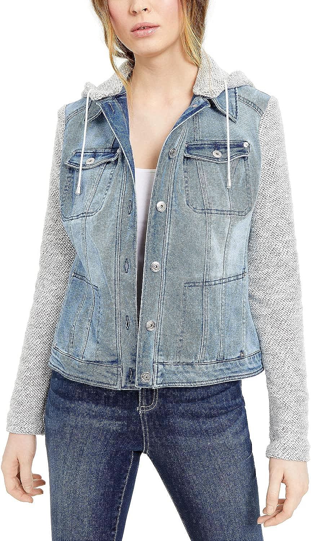 INC International Concepts Layered-Look Denim Hoodie Jacket - (Indigo, Large)