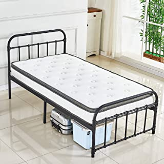 DIKAPA Bed Frame, Metal Platform Mattress Foundation/Box Spring Replacement with Headboard (Twin) Five Years Warranty