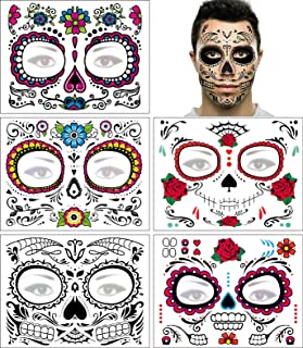Day of the Dead Face Tattoo Halloween Makeup Tattoos Decor Stickers Sugar Skull Temporary Tattoo for Halloween Masquerade ...