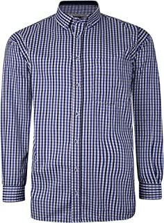 Kam Jeanswear Gingham Check Shirt Long Sleeved Chest Pocket Navy 6XL