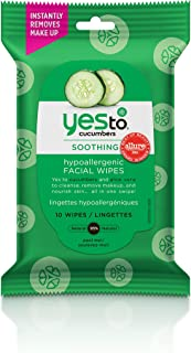 Yes To Cucumbers Face Wipes for Sensitive Skin Soothing Travel Facial Wipes | 10 Count
