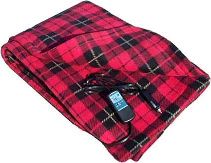 """Car Cozy 2 - 12-Volt Heated Travel Blanket (Red Plaid, 58"""" x 42"""") with Patented Safety Timer by Trillium Worldwide: image"""