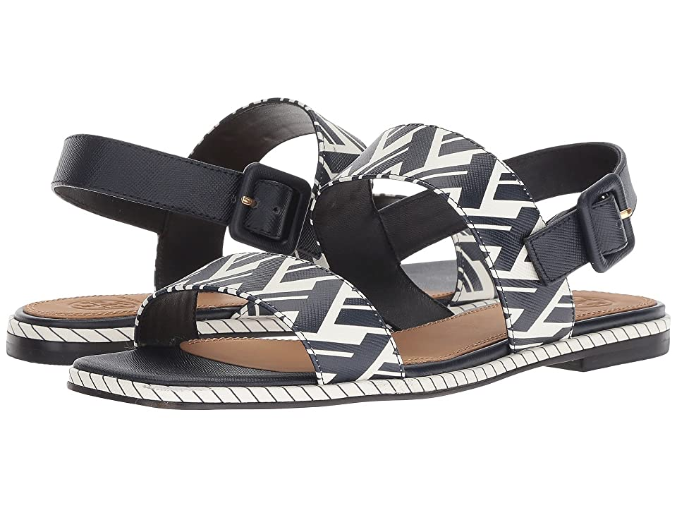 Tory Burch Delaney Flat Sandal (Navy T Lattice) Women