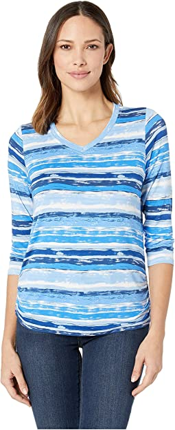 Printed Jersey Vista Stripe Print V-Neck Top