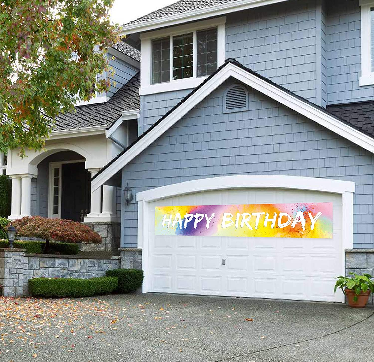 9.8 x 1.6 feet Large Green Happy Birthday Banner Rainbow Colorful Birthday Yard Sign Multicolor Birthday Party Decorations