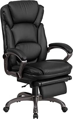 Flash Furniture High Back Black LeatherSoft Executive Reclining Ergonomic Swivel Office Chair with Outer Lumbar Cushion and Arms