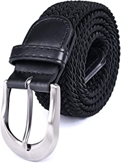 Braided Stretch Elastic Belt Pin Oval Satin Nickel Buckle Leather Loop End Tip Men/Women/Junior (3 Sizes 8 Colors)