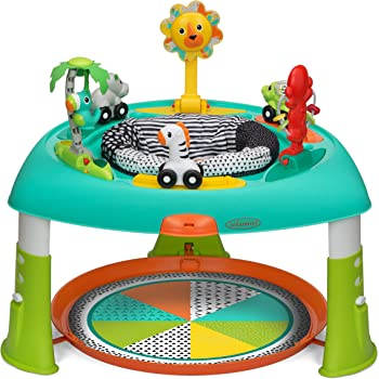 Infantino 2-in-1 Spin & Stand Entertainer - 360 seat and activity table with simple store-away design, multi-colored