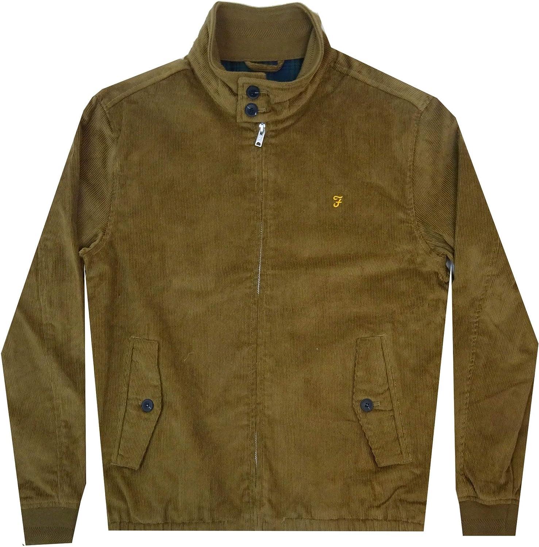 FARAH Mens Bowie Cord Harrington Jacket in TRUFFLE CLEARANCE