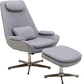 Hanover Westin Mid-Century Modern Scoop Ottoman in Gray, Lounge Chair Grey