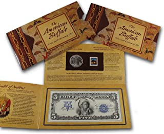 2001 D American Buffalo $1 Silver Commem Coin & Currency Set Brilliant Uncirculated