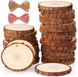 Fuyit Natural Wood Slices 30 Pcs 2.4-2.8 Inches Craft Wood Kit Unfinished Predrilled with Hole Wooden Circles Tree Slices ...
