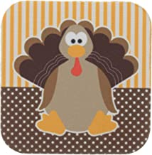 3dRose CST_110660_2 Cute Cartoon Turkey on Orange and Brown Pattern-Soft Coasters, Set of 8
