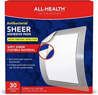All-Health Antibacterial Sheer Adhesive Pad Bandages, 3 in x 4 in, 30 ct | Helps Prevent..