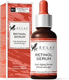 Pure Retinol Serum (2.5%) for Face/Neck/Eyes - 5X More Powerful Cold Processed Anti-Ageing Serum with Pure Vitamin A - Red...