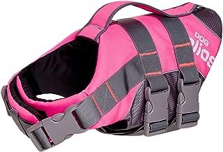 DOGHELIOS 'Splash-Explore' Outdoor Performance 3M Reflective and Adjustable Buoyant Safety Floating Pet Dog Life Jacket Vest Harness, Medium, Pink