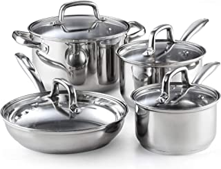 Cook N Home 02606 8-Piece Stainless Steel Cookware Set, Silver (Renewed)
