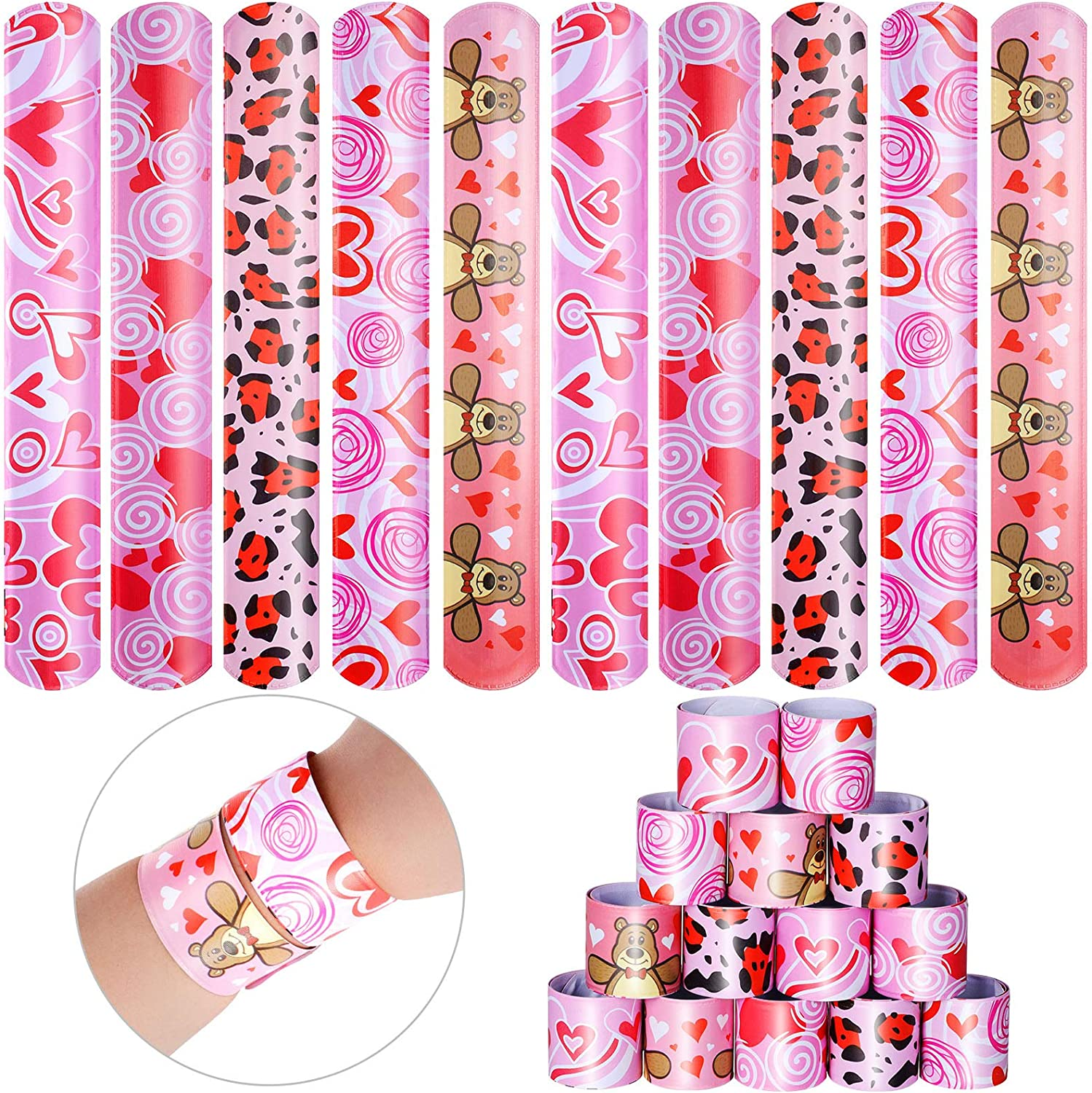 40 Pieces Valentine's Day Slap Printed New Orleans Mall Heart Bracelets Bear Charlotte Mall