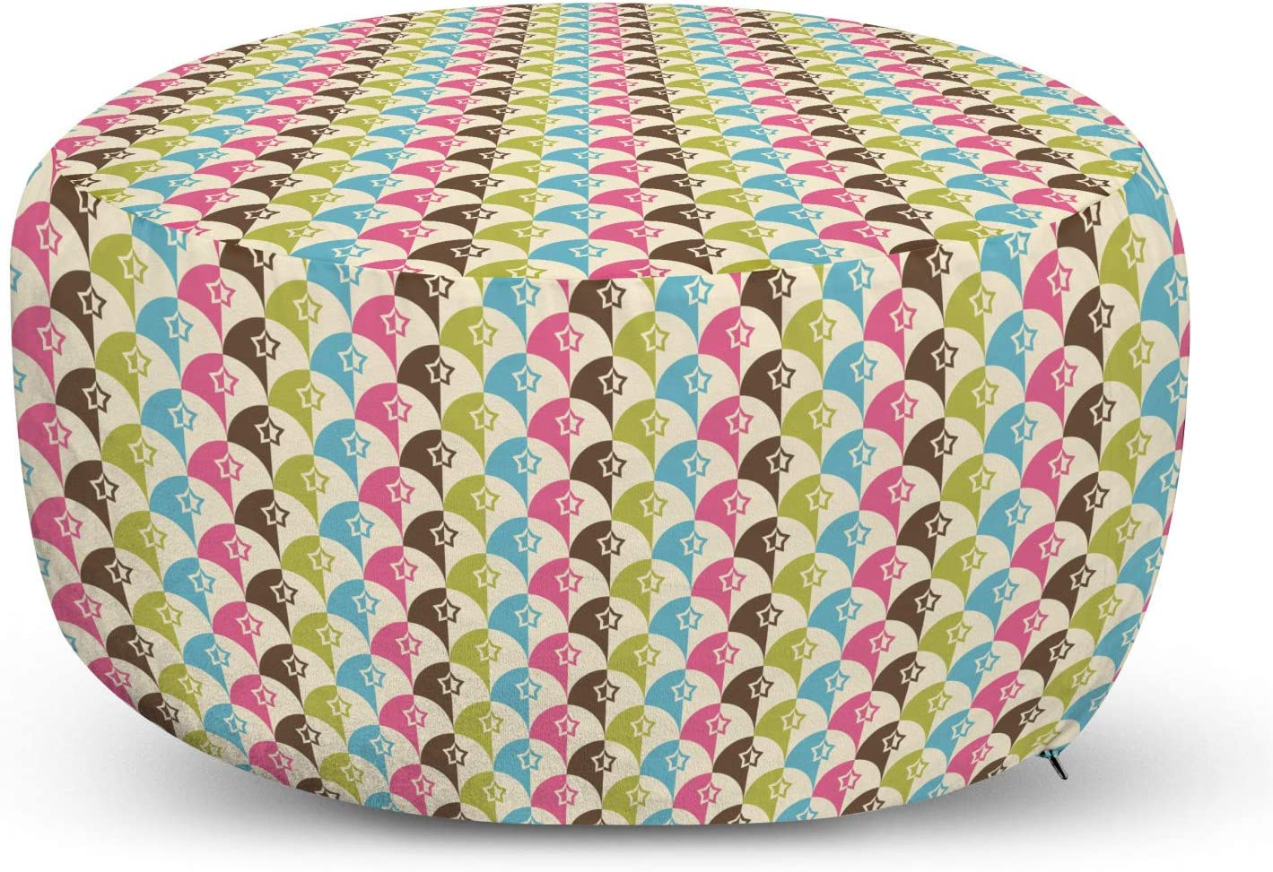 Ambesonne Free shipping / New Mid Century Pouf Cover De Colorful Courier shipping free Zipper with Scales