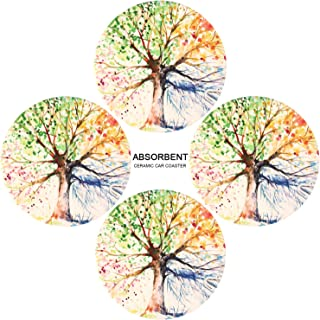 Coasters for Drinks,Ailsan Set of 4 Absorbent Ceramic Stone with Cork Backing.Suitable for Kinds of Cups Mugs.Protect Your Furniture from Spills Scratches Ideal Housewarming Gift(Tree of Life,Round)
