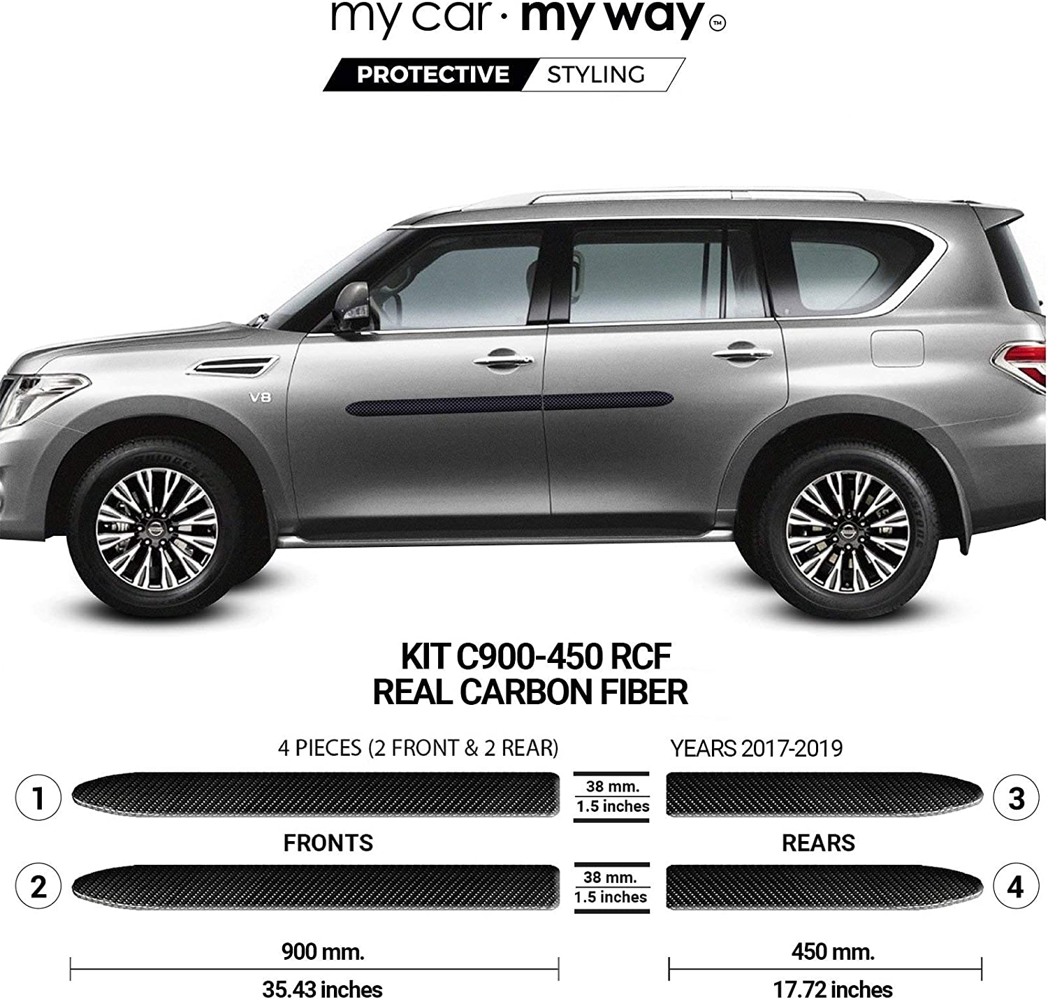 MY CAR MY WAY Nissan Pathfinder 2013-2019 Real Carbon Fiber Body Side Molding Cover Trim Door Protector Fits