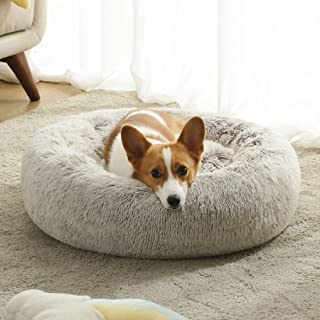 Western Home Faux Fur Dog Bed & Cat Bed, Original Calming Pup Dog Bed for Small Medium Pet, Anti Anxiety Donut Cuddler Rou...