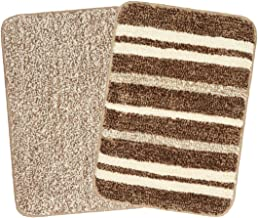 Saral Home Brown & Beige Microfiber Batmat (Set of 2, 35X50 cm)