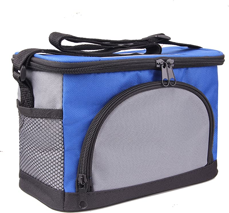 JINIU Premium Insulated Lunch Bag With Shoulder Strap Lunch Box For Adults Teens Soft Leak Proof Liner Medium Lunch Cooler For Office School Fits 6 Cans Blue
