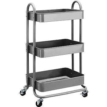 AmazonBasics - Carrito de cocina o multiuso de tres niveles con ruedas en color gris oscuro