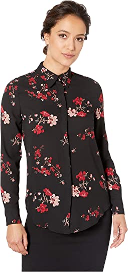 Petite Floral Button Down Shirt