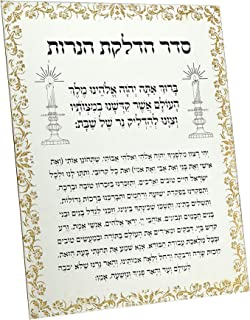 Philip Whitney Hebrew Candle Lighting Blessing Mirror Plaque with Gold Glitter Design - 9