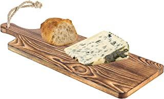 MyGift Rustic Burnt Wood Bread & Cheese Serving Paddle Board with Rope Handle