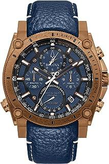 Bulova Men's Stainless Steel Quartz Sport Watch with Leather Calfskin Strap, Blue, 24 (Model: 97B186)