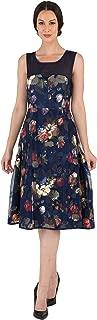 Modern Women's Floral Mesh Chiffon A-line Zip Back Dress