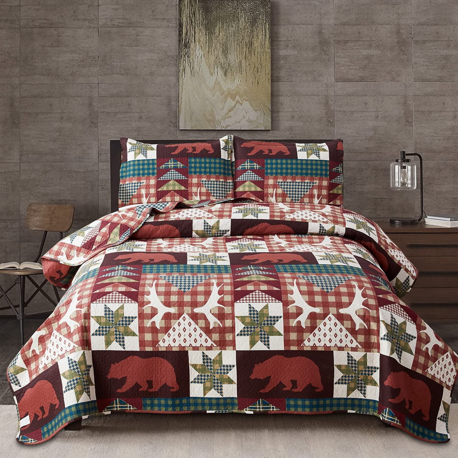 3-Piece Lodge Free shipping on posting reviews Bedspread Ranking TOP1 Twin Size Bear Quilt Set Moose Lightwei