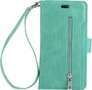 Galaxy S8 Plus Case, Folice Zipper Wallet Case [Magnetic Closure]& 9 Card Slots, PU Leather Kickstand Wallet Cover Durable Flip Case for Samsung Galaxy S8 Plus (Mint Green)