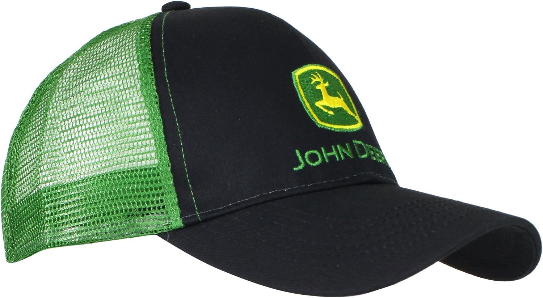 John Deere Embroidered Logo Mesh Back Baseball Hat - One-Size - Men's - Black : Clothing, Shoes & Jewelry