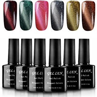 Gellen 3D Magnet Cat Eye Gel Nail Polish 6 Colors Plus Magnet Sticks 10ml Each