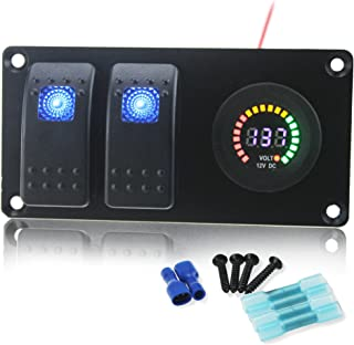 IZTOSS Waterproof DC 12V 24V Aluminum Panel with Blue Rocker Switch and 3.1A USB Socket and Installation Kits for Marine Car Boat ATV