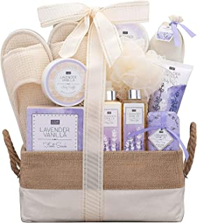 A Day Off Spa Gift Basket For Her Women Men Lavender Vanilla Scented Home Spa Gift Baskets Luxury Bath & Body Gift Set For Her or Him Lovely Reusable Chic Lined Basket Slippers and more!