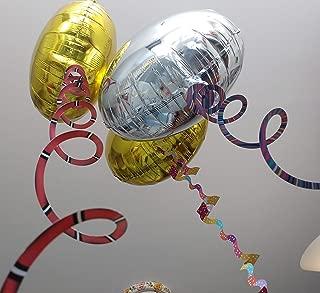 16 GLOBOS de helio con 16 PESOS, que son Bases decoradas y precortadas en espiral, escalera u ondas. Globos de cumpleaños, fiestas, eventos, bodas, que son de FOIL espejo en plata y oro.