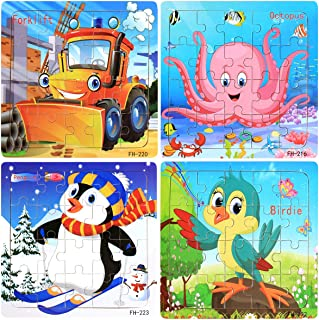 20 Pcs Wooden Jigsaw Puzzles Set for Kids Age 3-5 Year Old - Preschool Puzzle Learning Educational Jigsaw Toys Kindergarten STEM Gift for Boys and Girls (Set of 4 Puzzles) (Animal & Forklift)