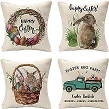 مجموعة Tosewever من 4 أغطية وسائد زينة على شكل أرنب عيد الفصح - كتان بيض الشاحنة 18 × 18 بوصة وسادة غطاء للأريكة والسرير و...