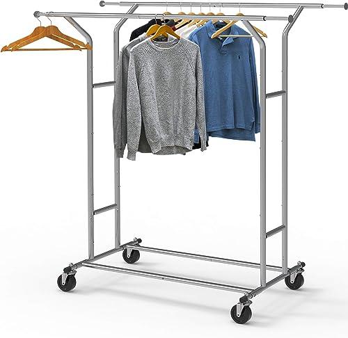 discount Simple Houseware Heavy Duty Double new arrival Rail Clothing Garment new arrival Rack, Chrome online