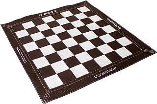 "Stonkraft 19"" x 19"" Genuine Leather Roll-Up Tournament Chess - Dark Tan Colour"