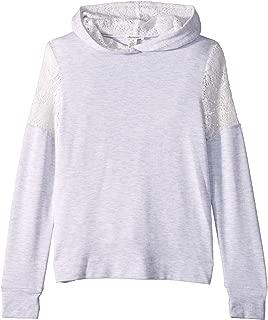 Ella Moss Girls' Big Lace Insert Hoodie Sweatshirt